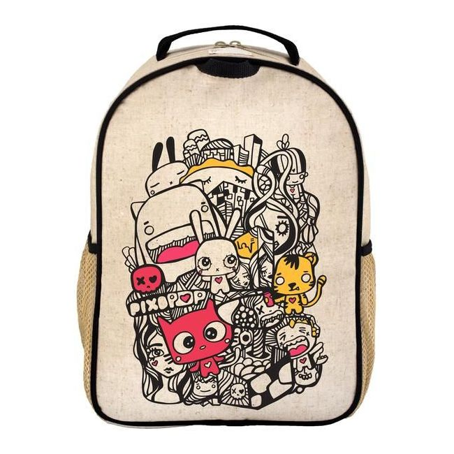 SoYoung Raw Linen Pixopop Pishi and Friends Toddler School Backpack