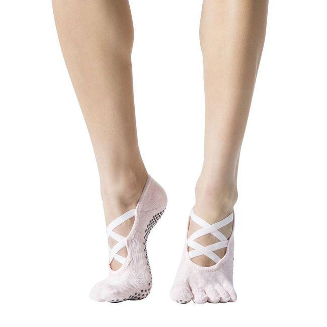 Toesox Elle Full Toe Sport Socks Ballet Pink - Small