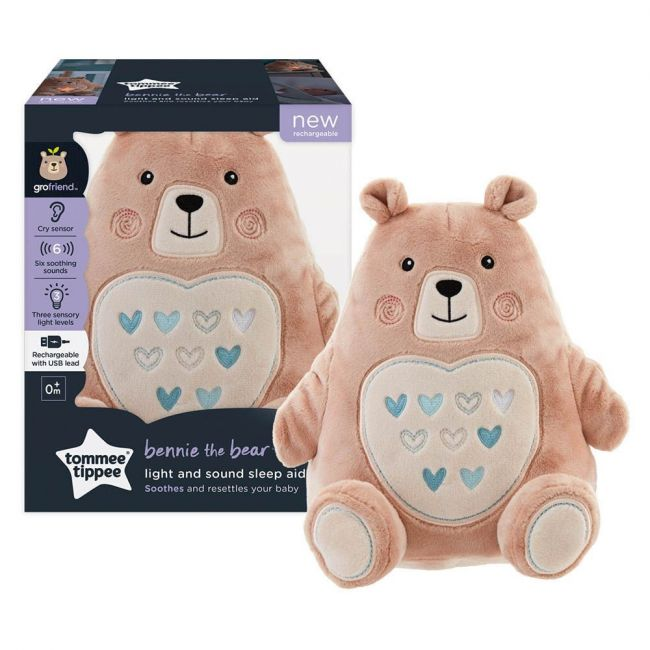 Tommee Tippee - Bennie The Bear Rechargeable Light And Sound Sleep Aid