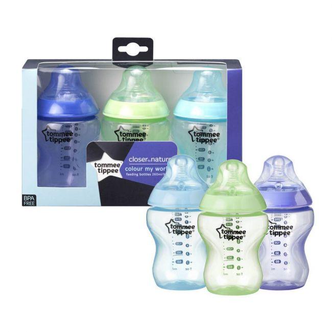 Tommee Tippee - Colour My World 3x260ml Feeding Bottles