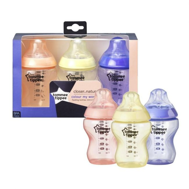 Tommee Tippee Closer to Nature 3 x260ml Colour my world Bottles- Pink