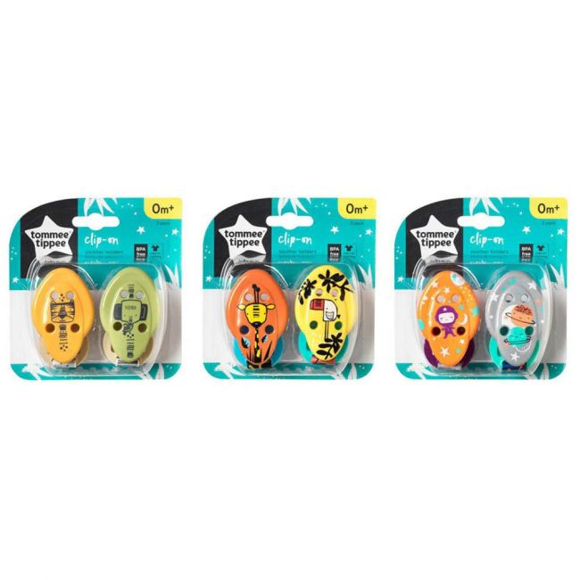 Tommee Tippee - Closer To Nature Soother Holders 0M Jungle 2 Pcs