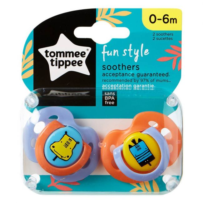 Tommee Tippee - Fun Style Soother Pack Of 2 Hippo Zibra