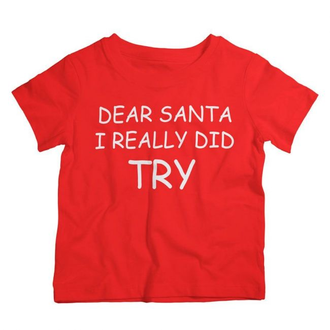 Twinkle Hands - Dear Santa I Really Did Try - Christmas T-shirt - Red