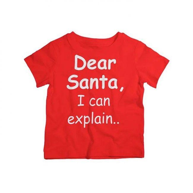 Twinkle Hands - Dear Santa I Can Explain - Christmas T-shirt - Red