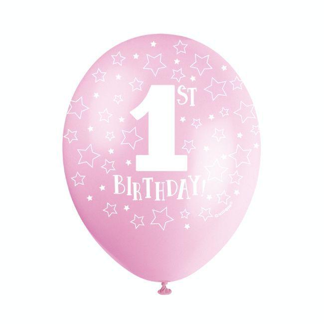 "Unique - 12"" Pink 1st Birthday Balloons"