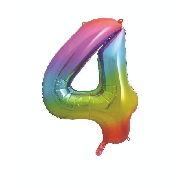 "Unique - 34"" Giant Rainbow Number 4 Foil Balloon"