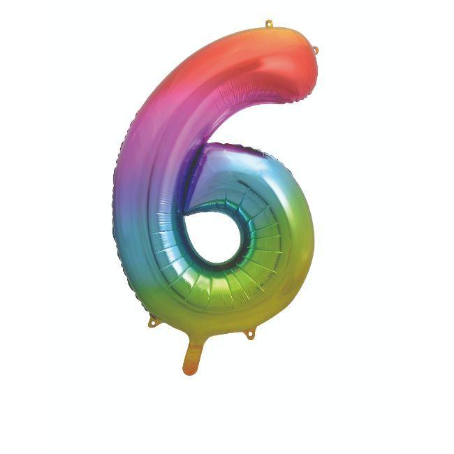 "Unique - 34"" Giant Rainbow Number 6 Foil Balloon"