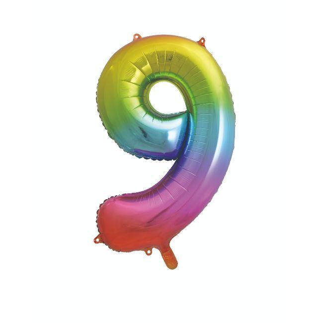 "Unique - 34"" Giant Rainbow Number 9 Foil Balloon"