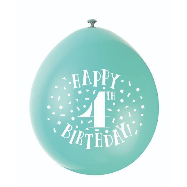 """Unique - 9"""" Happy 4Th Birthday Balloons"""