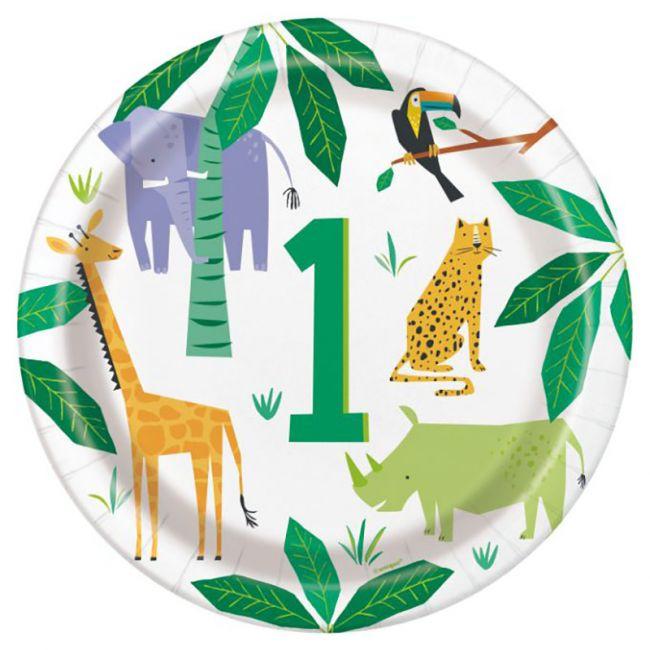 """Unique - Animal Safari 1St Bday 9"""" Plate"""