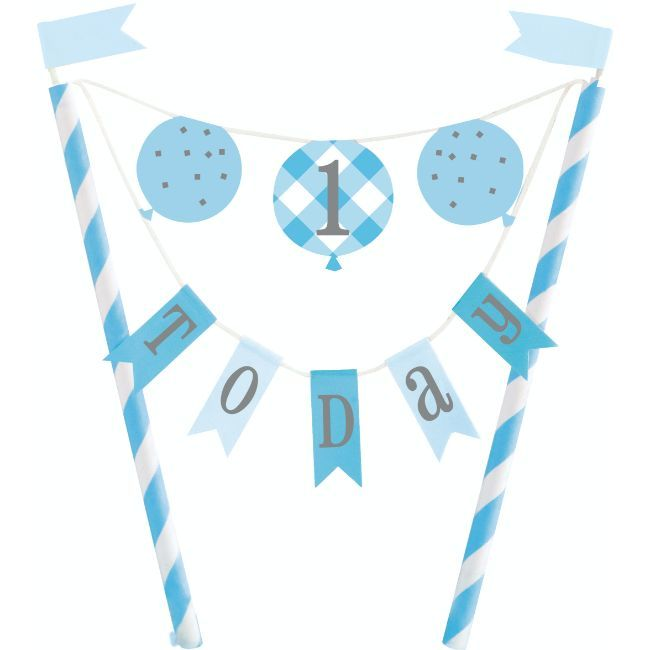Unique - Blue Gingham 1St Birthday Bunting Cake Topper