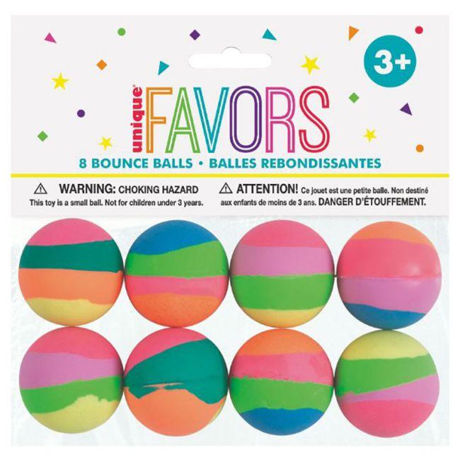 Unique - Pack of 8 Pastel Stripe Bounce Ball