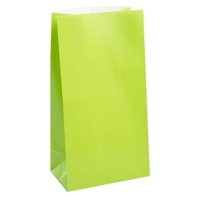 Unique - Paper Party Bags Pack of 12 - Lime Green