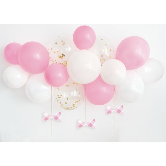 Unique - Pink Gingham 1St Birthday Balloon Arch Kit