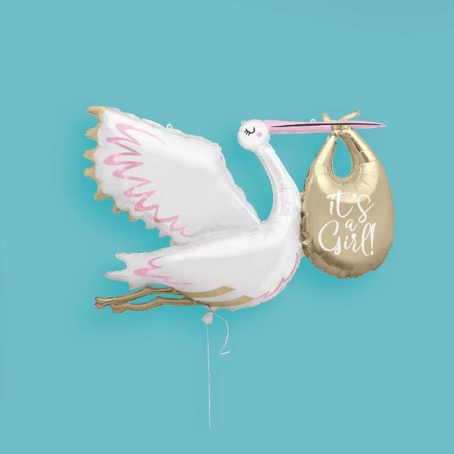 """Unique - Stork """"It's a Girl"""" Giant 62"""" Foil Balloon"""