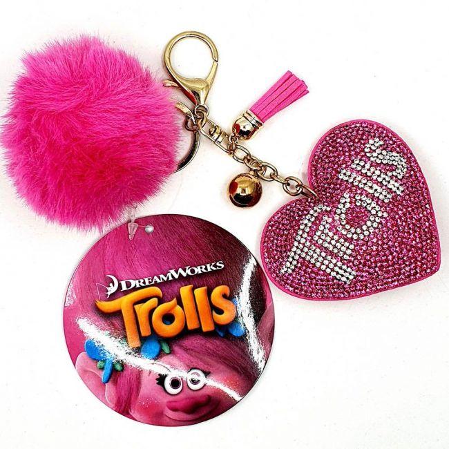 Universal - Dream Works Trolls Elegant Heart Shaped Crystal Embellished Pompom Key Ring Chain