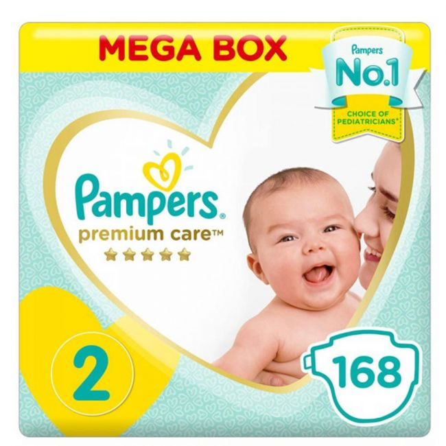 Pampers - Premium Care Diapers, Size 2, 3-8 Kg - 168 Count