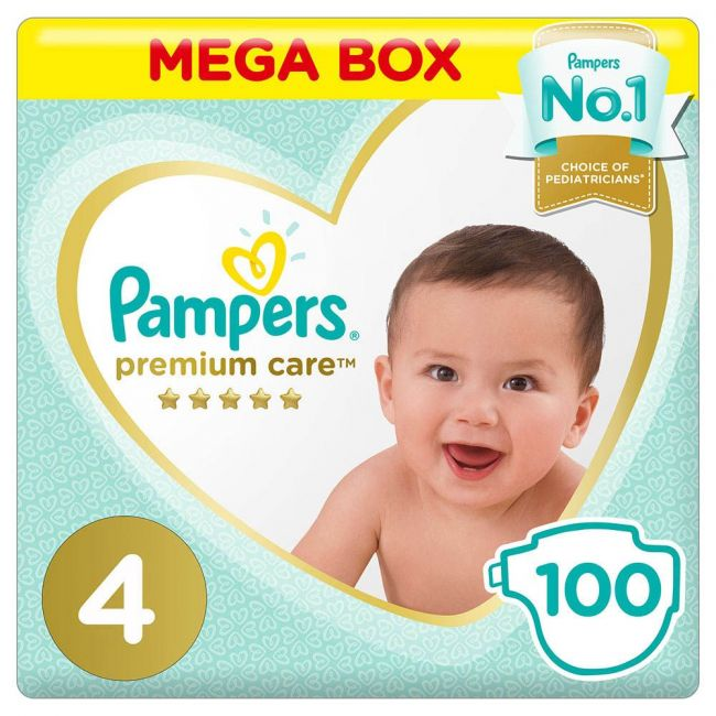 Pampers - Premium Care Diapers, Size 4, Maxi, 9-14 Kg - 100 Count