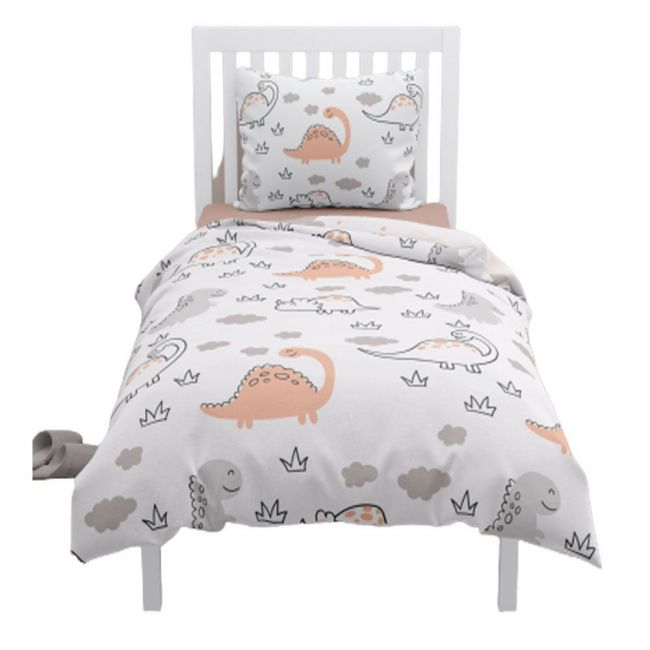 Elli Junior - 100% Organic Double Sided Duvet Cover Set Dino/Cloud (full size bed)