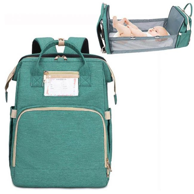 Pikkaboo - 4 in 1 Diaper Bag with Expandable Bed - Teal Green