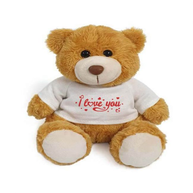Caravaan - Super Soft Golden Teddy Bear With Red I Love You