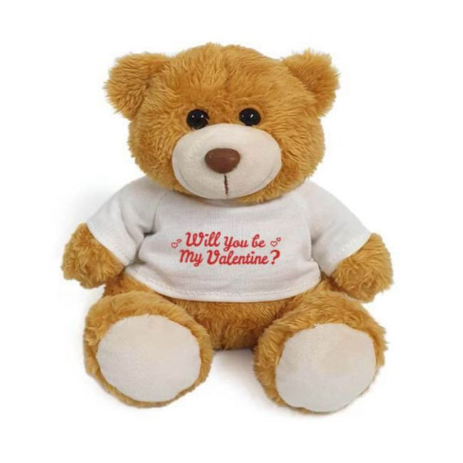 Caravaan - Super Soft Golden Teddy Bear With Red Will You Be My Valentine?