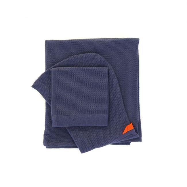 Ekobo - Bambino Baby Hooded Towel and Wash Cloth Set - Midnight Blue