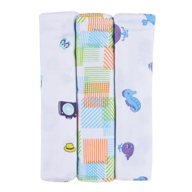 Wonder Wee - Baby Swaddle Blanket Turquoise Pack of 3 - 112cm x112cm