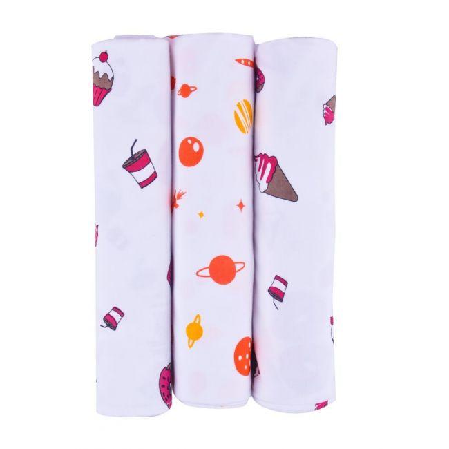 Wonder Wee - Baby Swaddle Blanket Pack of 3 Pink - 112cm x112cm