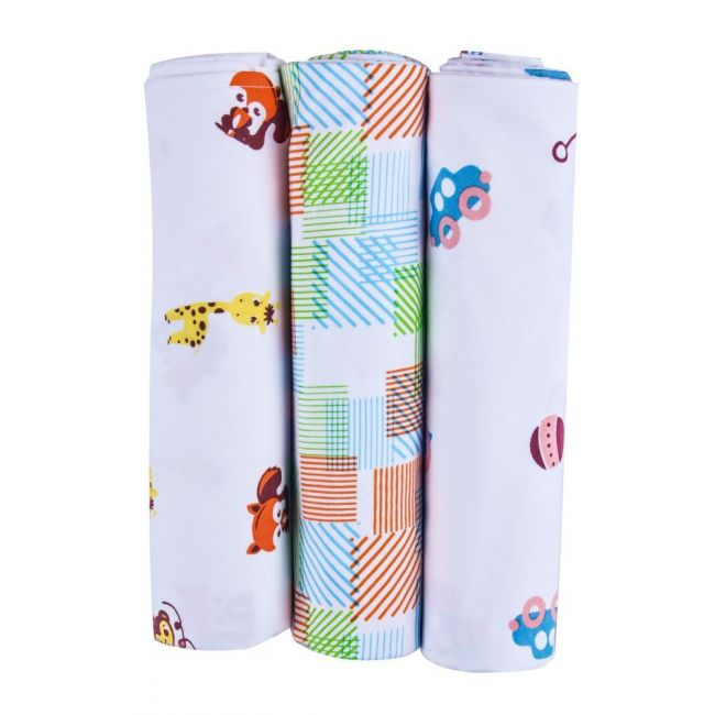Wonder Wee - Baby Swaddle Blanket Yellow Animals Pack of 3 - 112cm x112cm