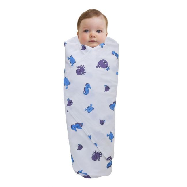 Wonder Wee - Soft and Smooth Mulmul Faric Baby Swaddle Wrap Pack of 1 - 112cm Blue Sea Animals