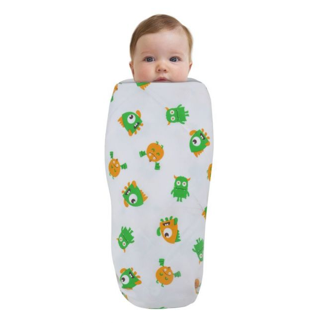 Wonder Wee - Soft and Smooth Mulmul Faric Baby Swaddle Wrap Pack of 1 - 112cm Monsters