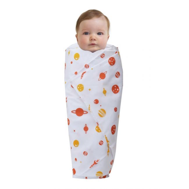 Wonder Wee - Soft and Smooth Mulmul Faric Baby Swaddle Wrap Pack of 1 - 112cm Orange Space