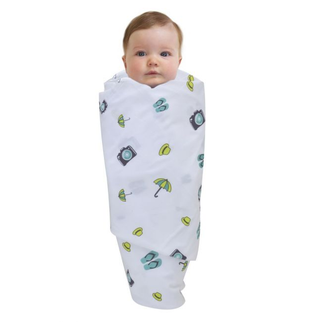 Wonder Wee - Soft and Smooth Mulmul Faric Baby Swaddle Wrap Pack of 1 - 112cm Turquoise Travel