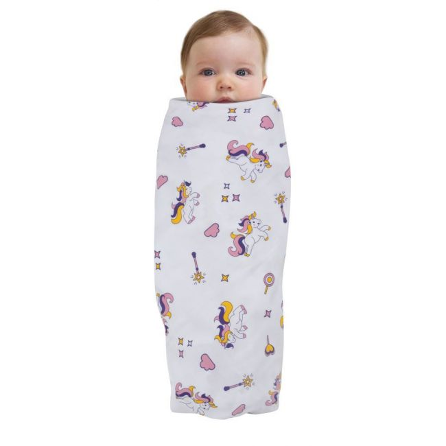 Wonder Wee - Soft and Smooth Mulmul Faric Baby Swaddle Wrap Pack of 1 - 112cm Unicorn