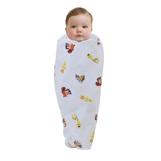 Wonder Wee - Soft and Smooth Mulmul Faric Baby Swaddle Wrap Pack of 1 - 112cm Yellow Animal