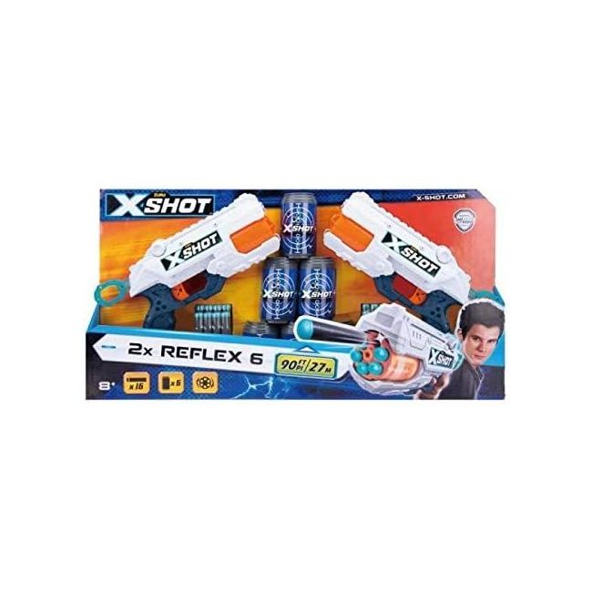 X Shot - Excel Reflex 6 Combo Pack 2 Shooters 6 Cans 16 Darts