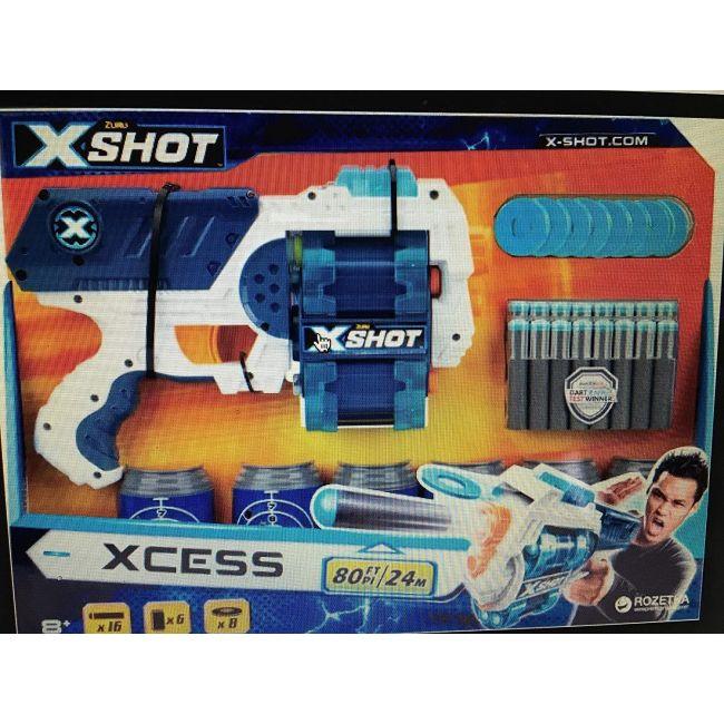 X Shot - S 001 Excel Xcess 6 Cans 12 New Darts 8 Discs