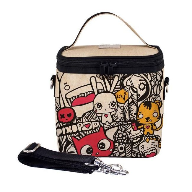 SoYoung Raw Linen Pixopop Pishi and Friends Large Cooler Bag