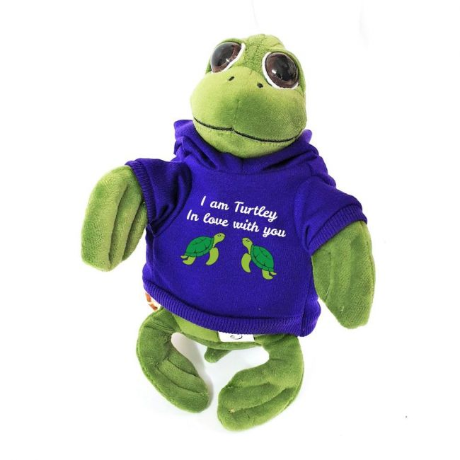Caravaan - Cuddly Soft Toy Turtle With Trendy Blue I Am Turtley In Love With You Hoodie
