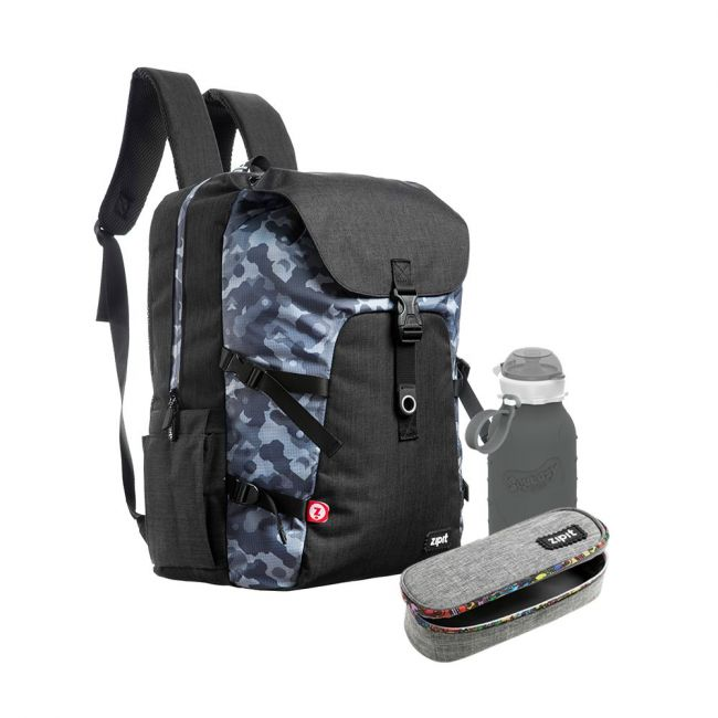 Zipit - Back To School - Backpacks + Pencil Pouches + Bottles-Black